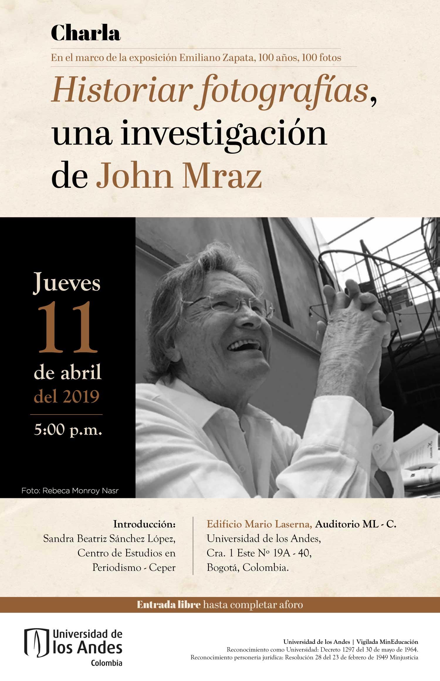 Charla – Historiar fotografías, una investigación de John Mraz