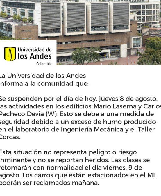 Comunicado oficial de la Universidad de los Andes – Evacuados bloques ML y W