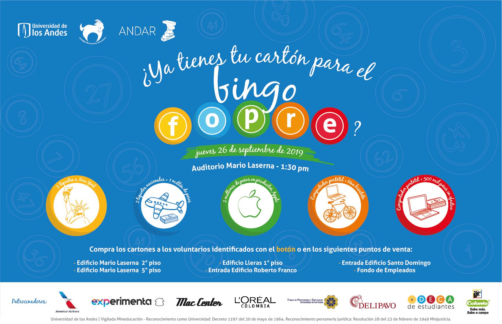 Bingo Fopre Universidad de los Andes