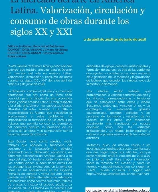 Convocatoria Dossier H-Art: El mercado del arte en América Latina
