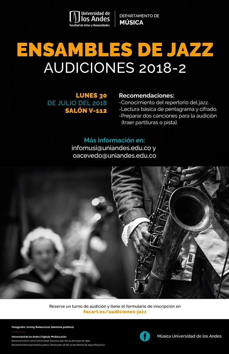 Audiciones para participar en alguno de los ensambles de jazz de la Universidad de los Andes en 2018-2