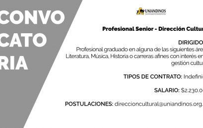 Convocatoria: Profesional Senior en la Dirección Cultural de Uniandinos