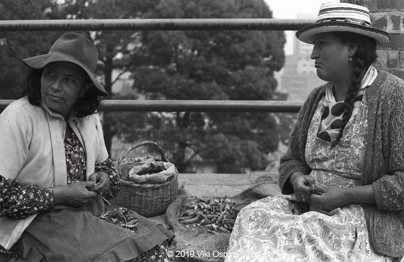 Fotografía de mujeres campesinas a blanco y negro