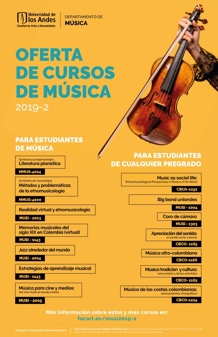 Oferta de cursos de Música para el segundo periodo de 2019