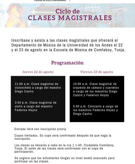 Ciclo de clases magistrales de Música en Tunja