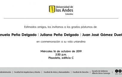 Grados póstumos de Manuela y Juliana Peña Delgado, y Juan José Gómez Dueñas