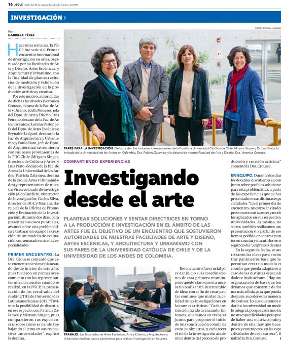 «Investigando desde el arte». Encuentro de directivas de facultades de artes en Perú