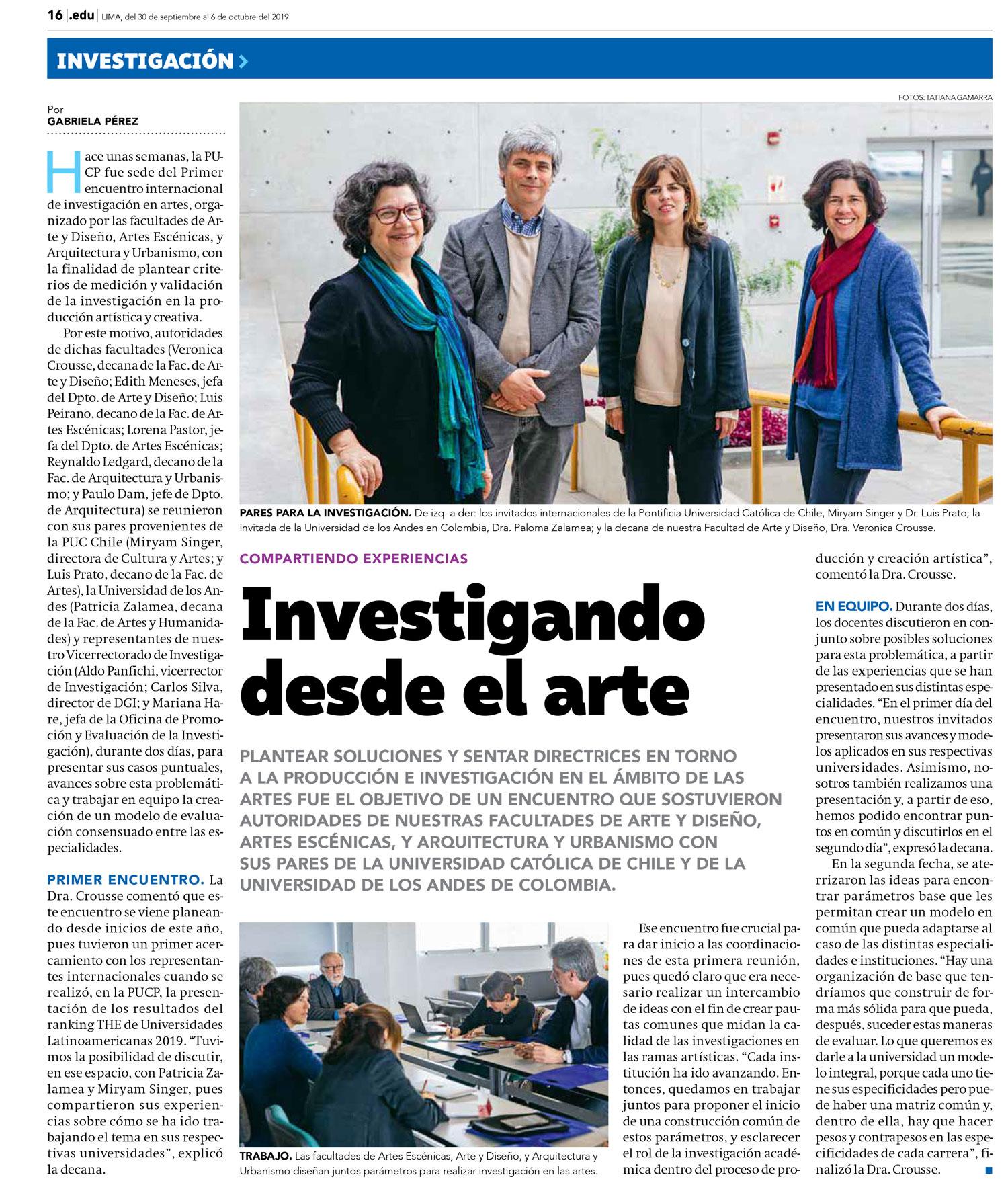 """""""Investigando desde el arte"""". Encuentro de directivas de facultades de artes en Perú"""