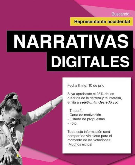 Convocatoria Representante Accidental Narrativas Digitales