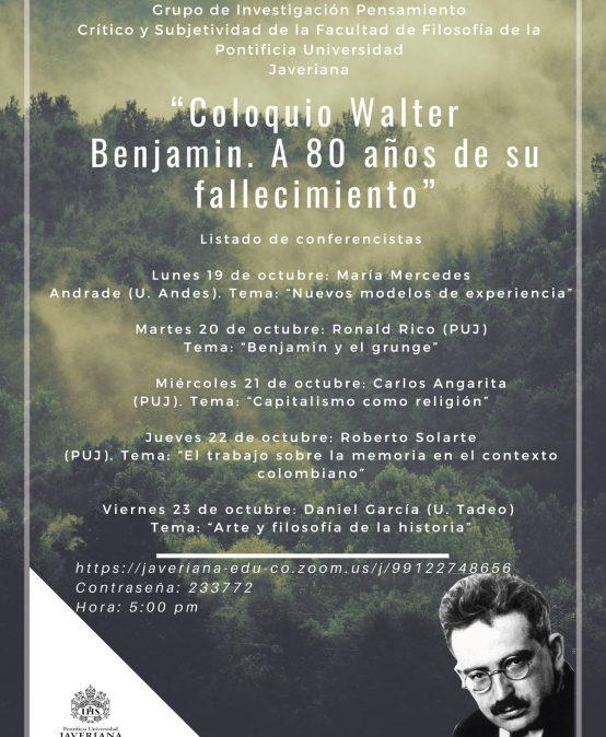Coloquio Walter Benjamin. A 80 años de su fallecimiento