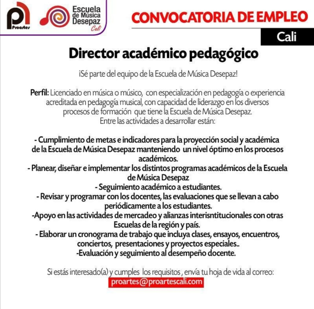 Convocatoria: Director académico pedagógico