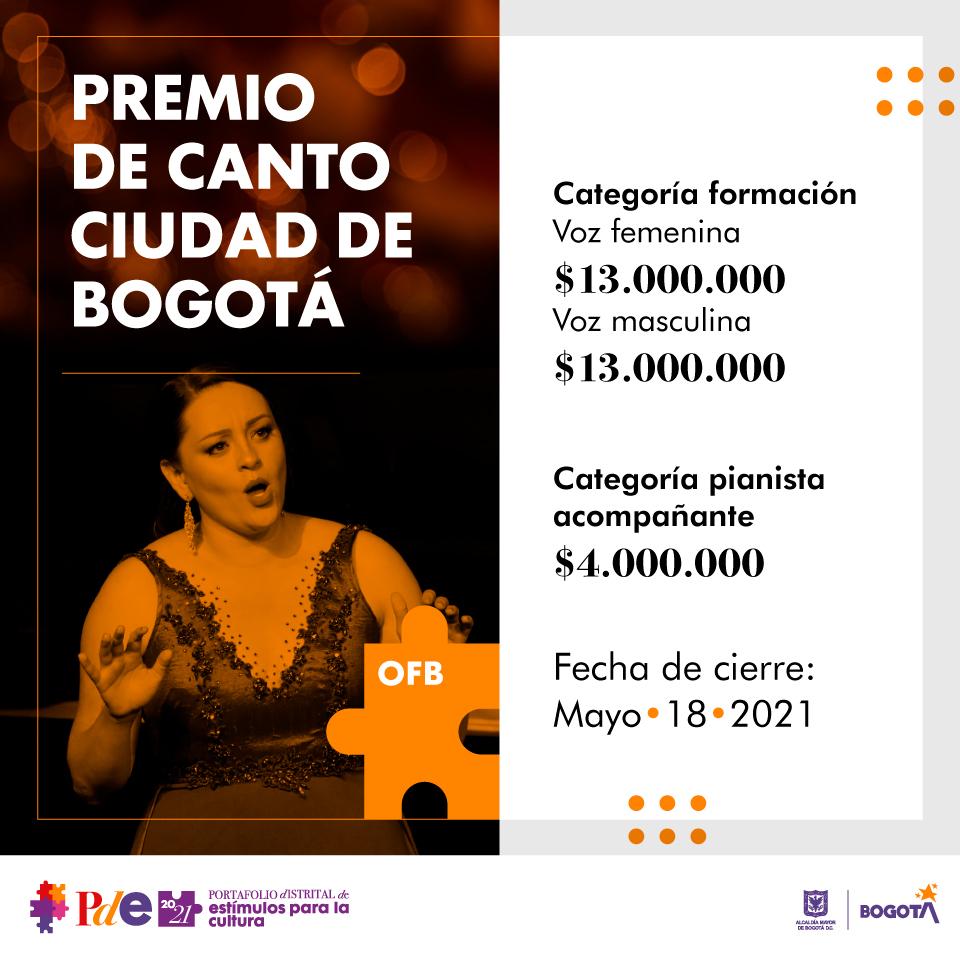 Premio de canto – Ciudad de Bogotá