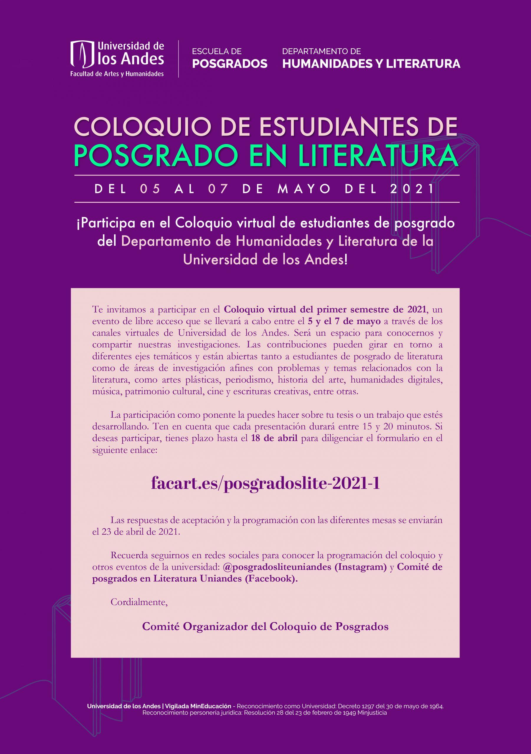Convocatoria: Coloquio de estudiantes de posgrado en Literatura