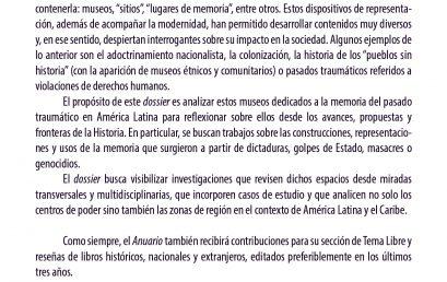 Anuario Colombiano de Historia Social y de la Cultura Vol. 50 No. 1. Museos, memoria y trauma