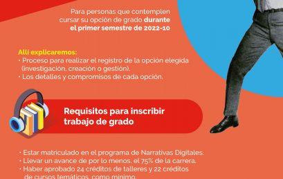 Consejería Grupal para trabajo de grado Narrativas Digitales