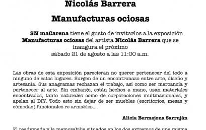 Exposición: Manufacturas ociosas de Nicolás Barrera