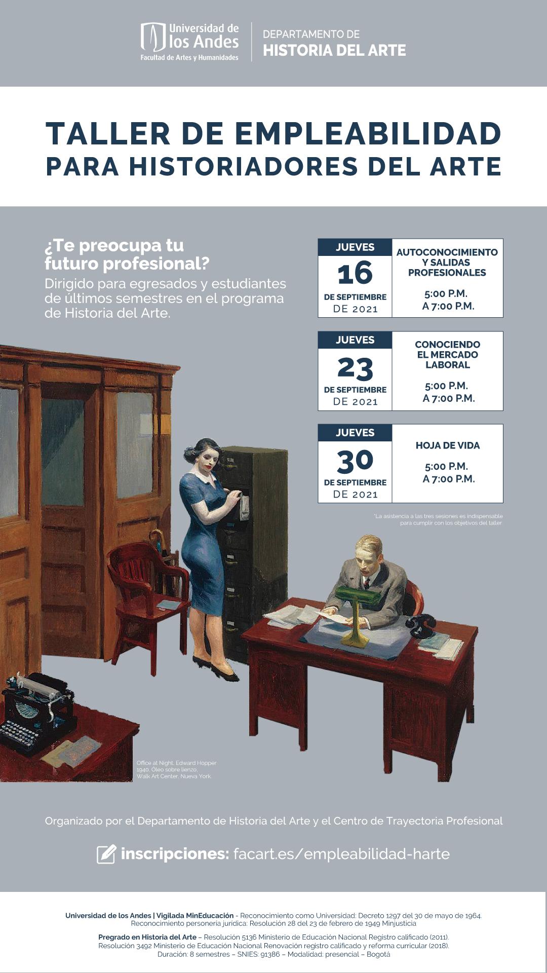 Taller virtual de empleabilidad para egresados y estudiantes de últimos semestres del pregrado en Historia del Arte